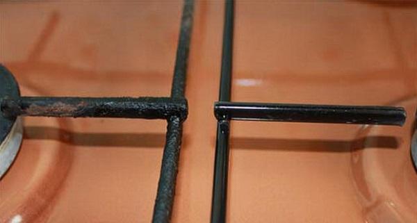 Решётка газовой плиты до и после чистки