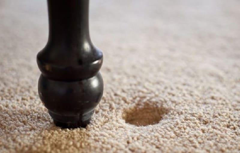 Вмятины на ковре после мебели