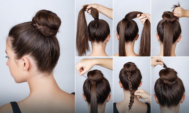 Распущенные волосы с каре и косой