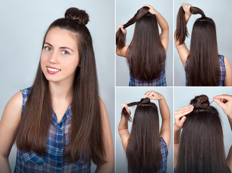 Длинные волосы с пучком