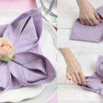 Как сложить салфетку цветком лотоса пошагово?
