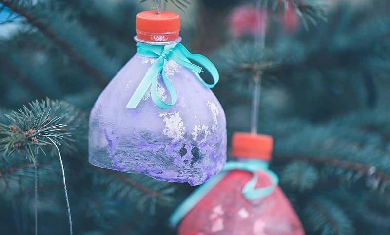 Игрушки для ёлки из пластиковых бутылок