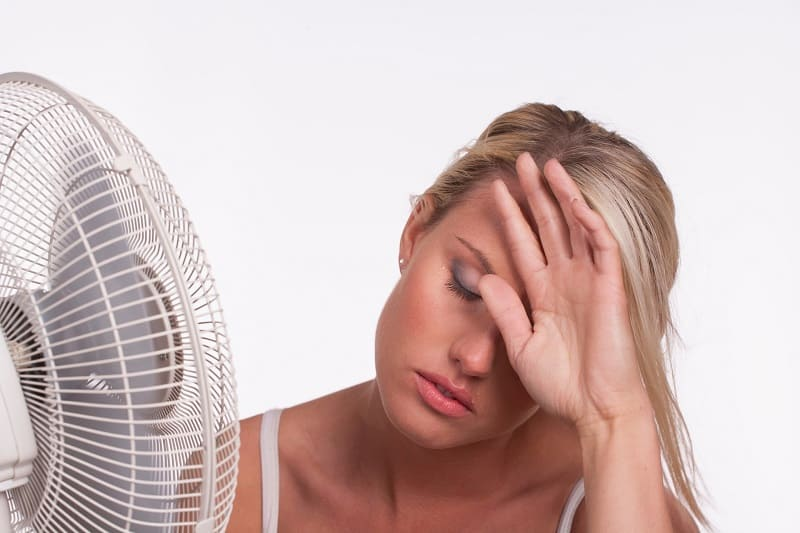 Девушка с вентилятором